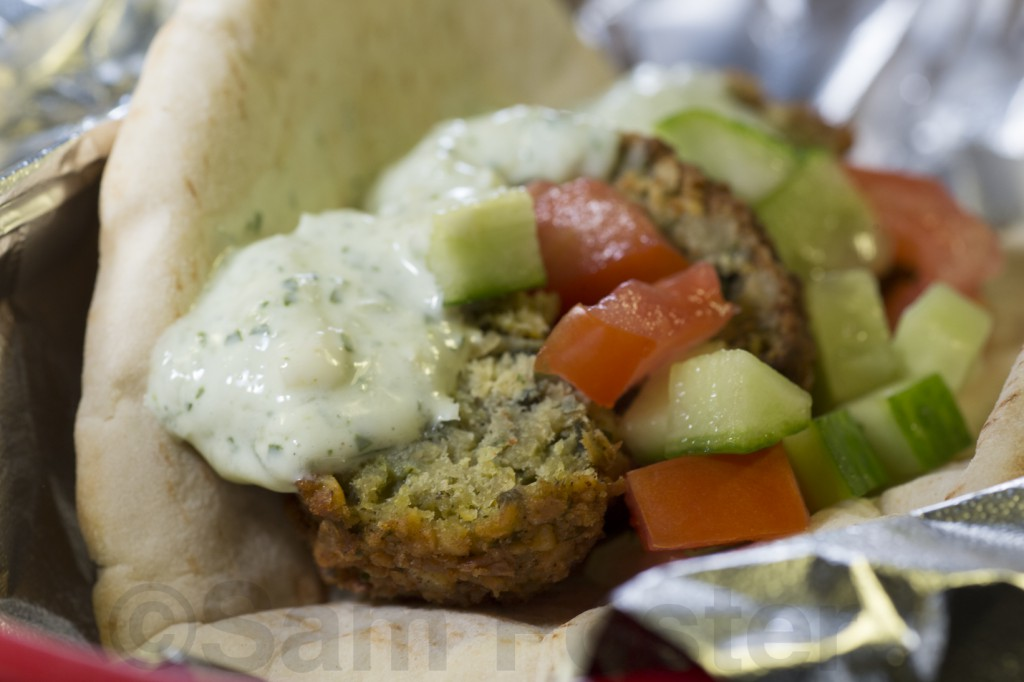 Falafel with tomato cucumber salad