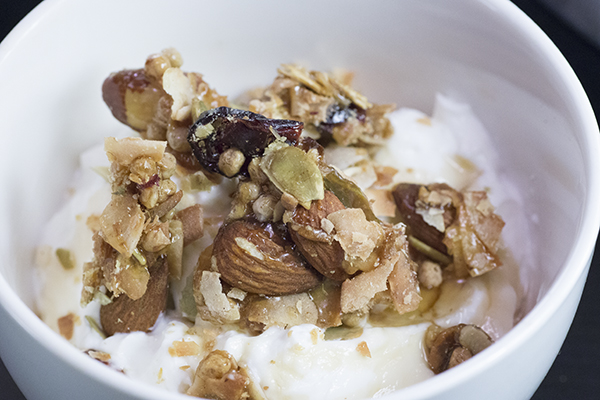 Add the crumbled kind bars to yogurt and drizzle with honey