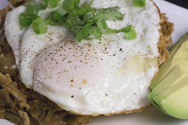 chilaquiles with fried egg, cilantro, scallions, and avocado.
