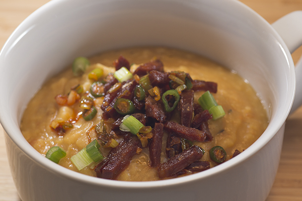 Split Pea Soup with Chorizo Picante, Green Onions and Serrano Chilies