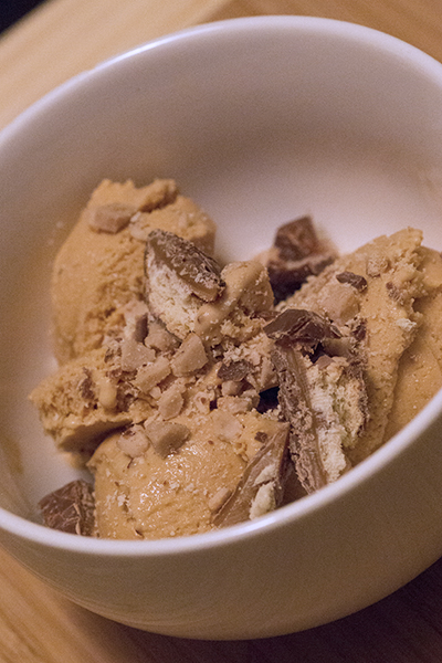 Heath Bar Crunch Ice Cream with crumbled toffee and Twix