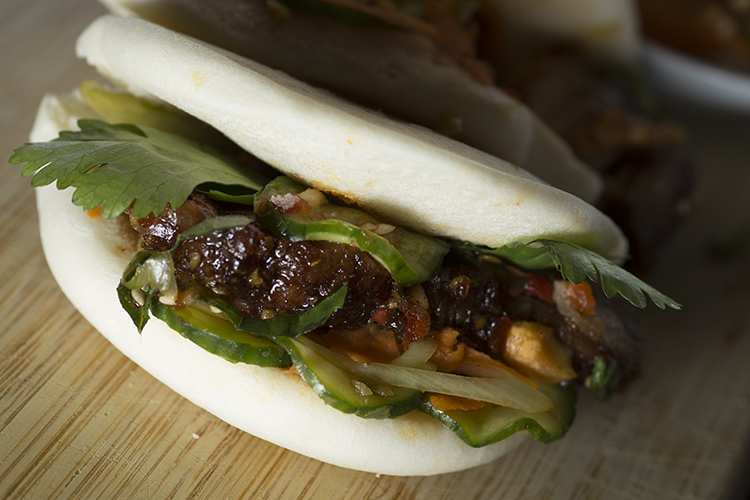 Roasted Pork Belly Bao with Carrot Slaw and Cucumber Kimchee