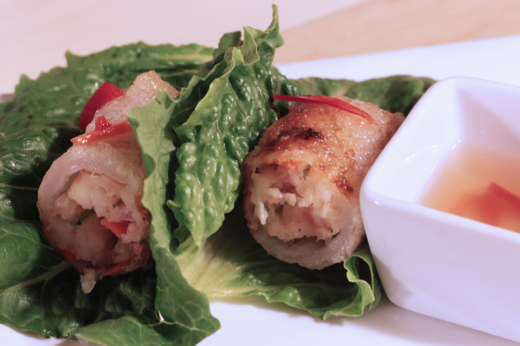 Fried Shrimp Spring Rolls served in lettuce leaves with Nuoc Cham.
