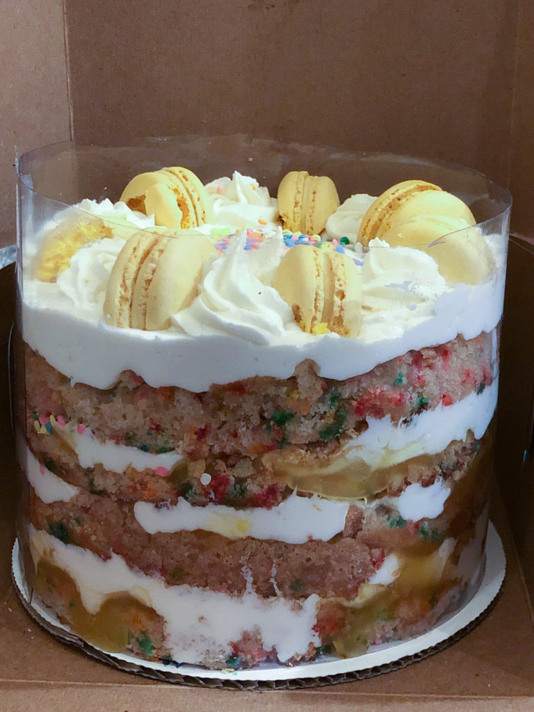4 Layers Of Cake With Curd And Buttercream Standing Tall